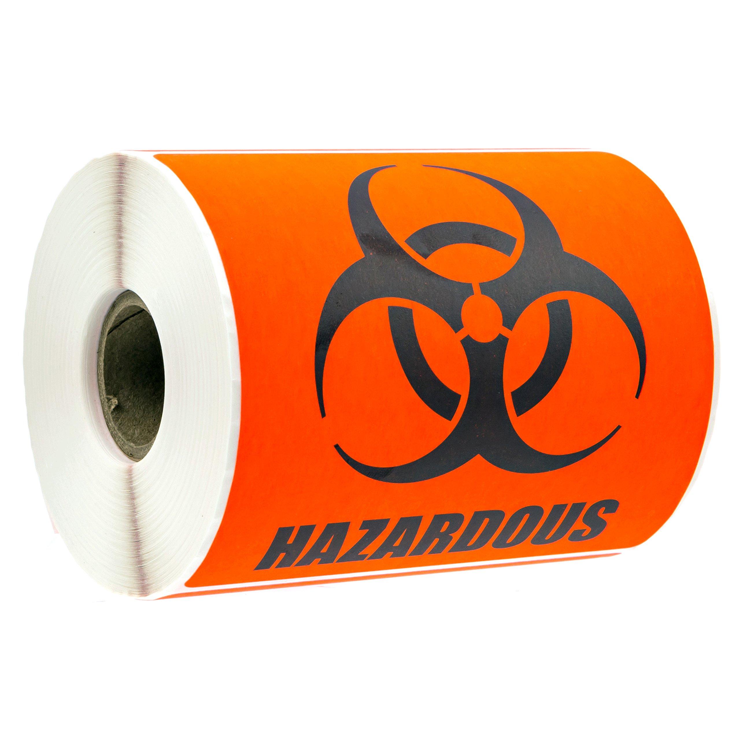 Biohazard Warning Labels/4'' x 4'' Hazardous Materials Warning Stickers