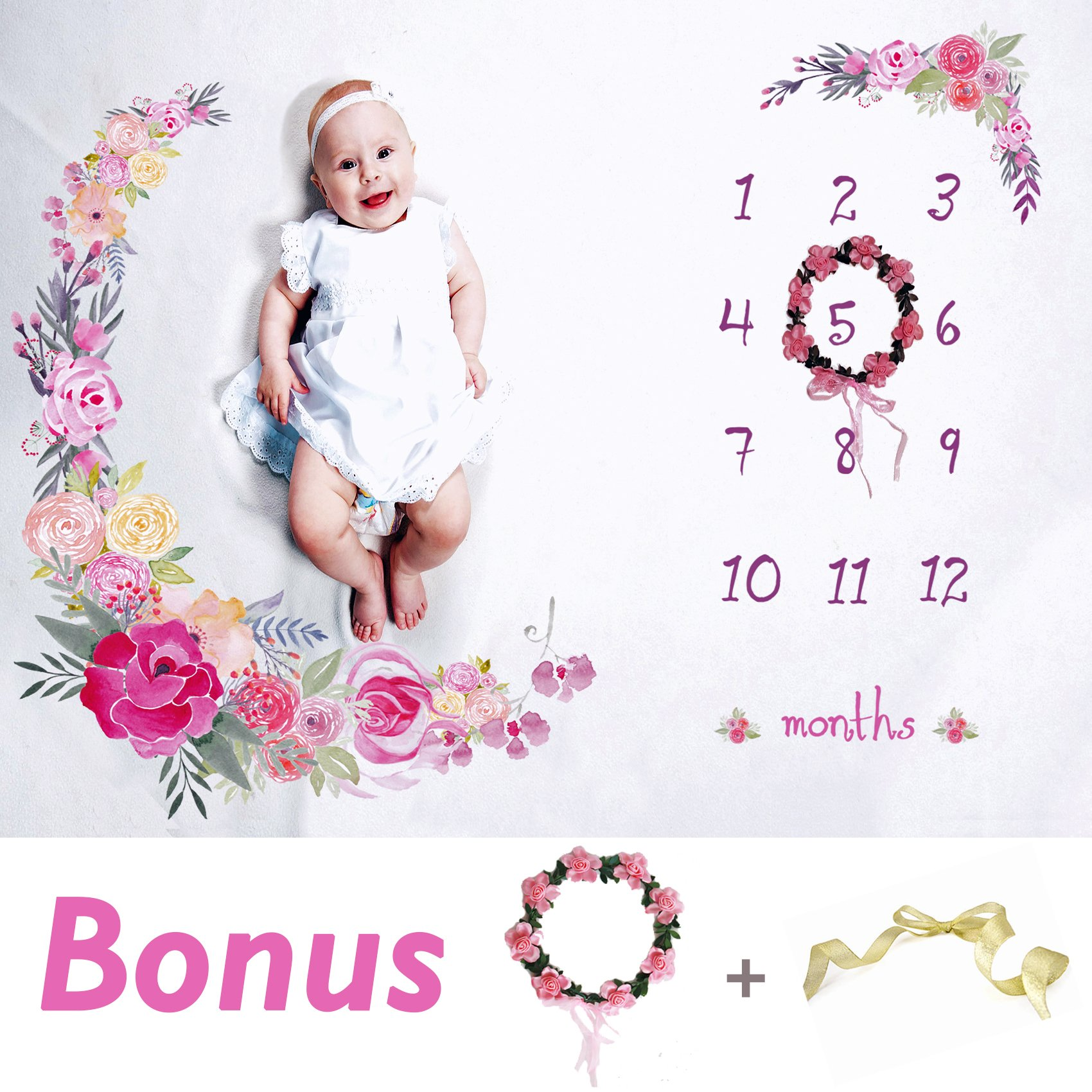 Baby Monthly Milestone Blanket Large 60''x40'' | Bonus Floral Wreath | Soft Photography Background Blanket | Newborn Girls or Boys Photo Prop | Best Baby Shower Gift for New Mom | Months Watch Me Grow
