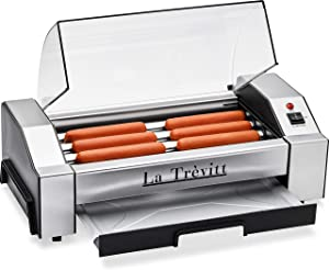La Trevitt Hot Dog Roller- Sausage Grill Cooker Machine- 6 Hot Dog Capacity - Commercial and Household Hot Dog Machine for Family Use