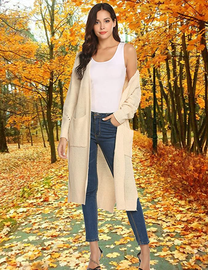 81e660ff807 AKEWEI Womens Long Open Knit Sweater Cardigan V Neck Split Casual Duster  with Pocket at Amazon Women s Clothing store