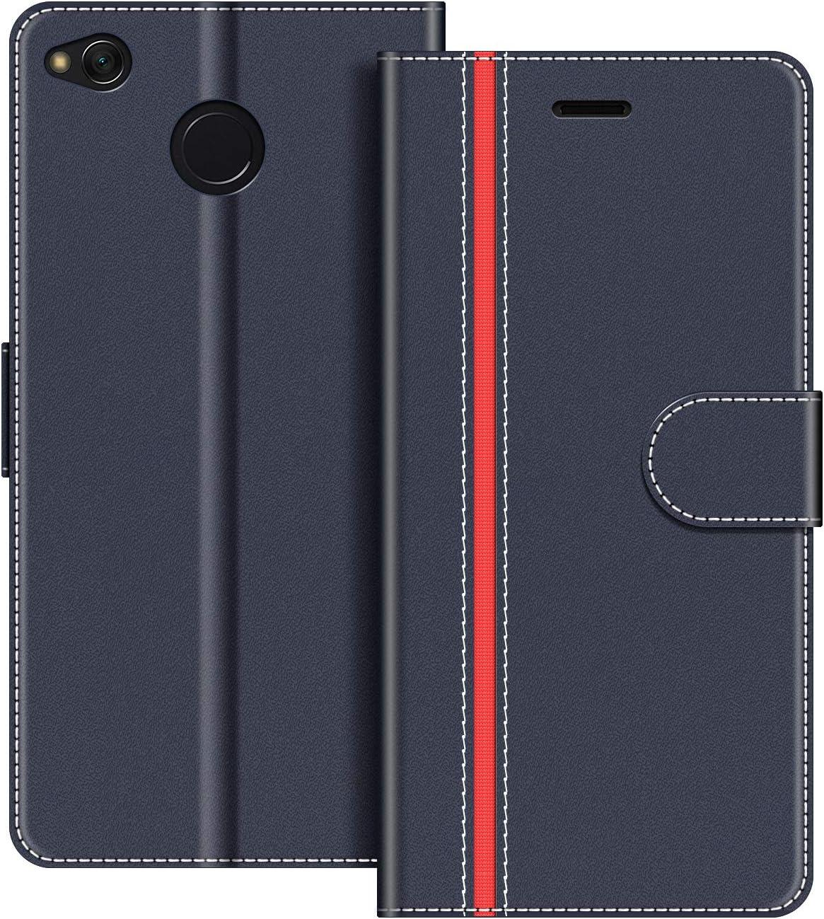 COODIO Funda Xiaomi Redmi 4X con Tapa, Funda Movil Xiaomi Redmi 4X, Funda Libro Xiaomi Redmi 4X Carcasa Magnético Funda para Xiaomi Redmi 4X, Azul Oscuro/Rojo