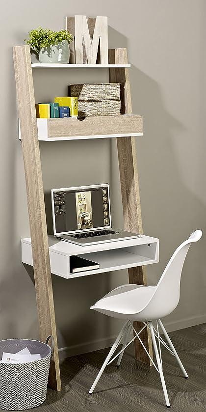 SoBuy® FRG111-WN Étagère de Rangement Bibliothèque avec bureau ...