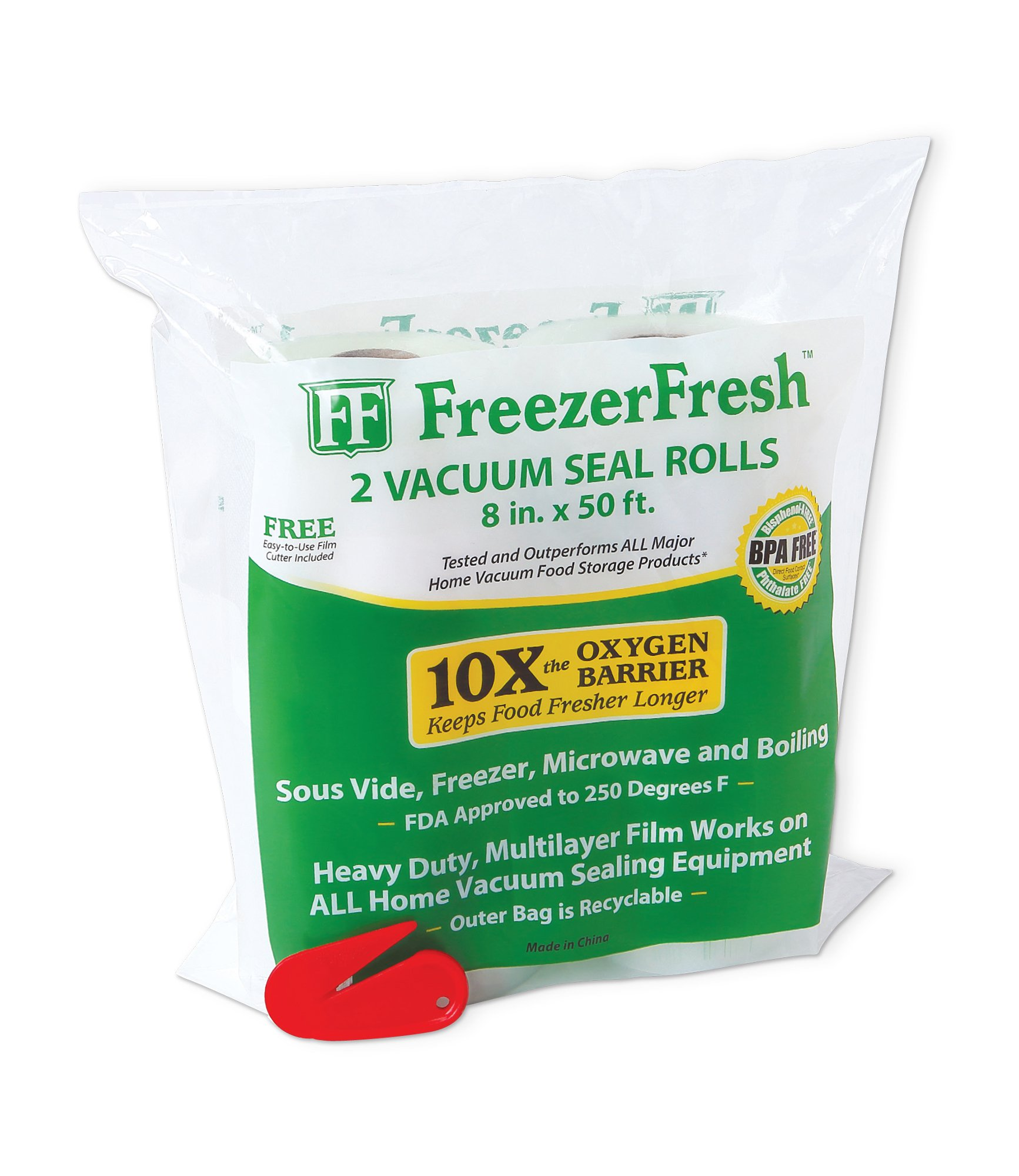 2 Pack - Freezer Fresh 8'' x 50' Commercial Grade Vacuum Sealer Rolls. Food Storage Rolls Compatible with FoodSaver, Sous Vide and more.