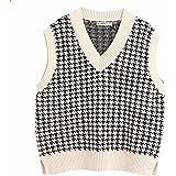Gulajia Oversized Women Houndstooth Pattern Knit Sweater Vest Sleeveless Loose V-Neck 90s Waistcoat Pullover Knitwear Top