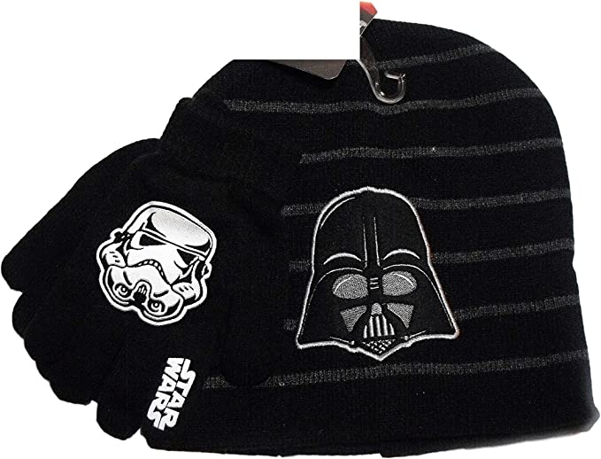 Boys Ages 4-12 Black Star Wars Winter Hat and Glove Set
