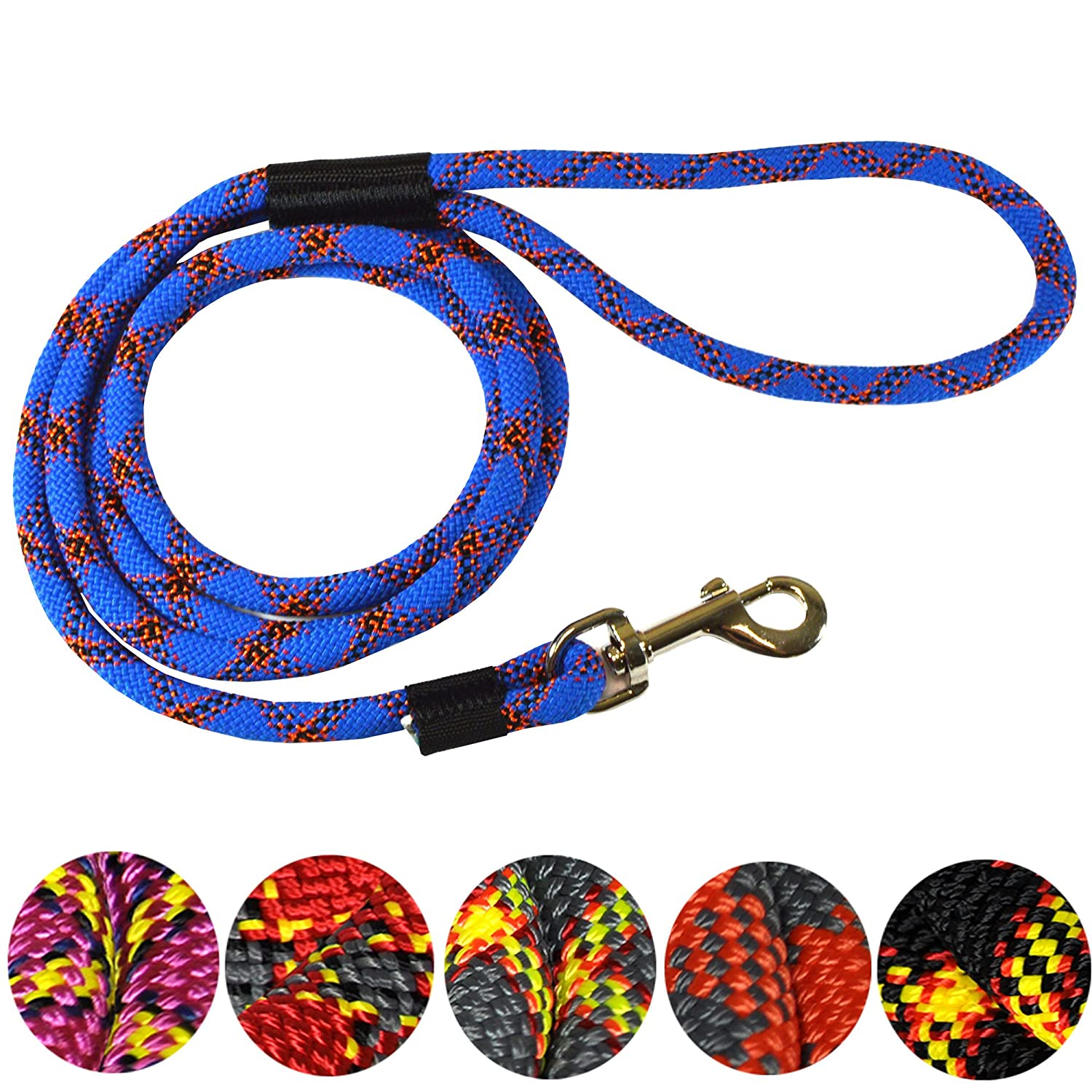 Grey Sturdy and Comfortable Leash Premium Quality Mountain Climbing Dog Rope Lead Supports the Strongest Pulling Large and Medium Sized Dogs Strong Extremely Durable Dog Rope Leash 6-feet
