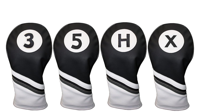 ゴルフ ヘッドカバー 黒&白 レザースタイル 3 5 H X ハイブリッド&フェアウェイ ヘッドカバー B01C505J3U