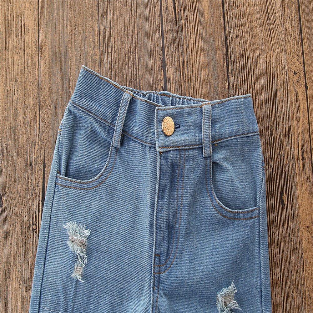 KIDSA 1-7T Baby Little Girls Off Shoulder Top Jeans Pants 3Pcs Outfits Set