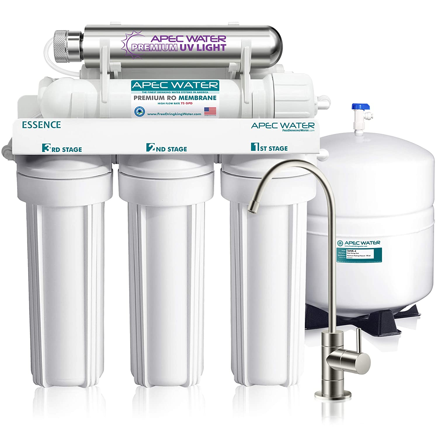 APEC Water Systems ROES-UV75-SS Essence Series Top Tier UV Violet Sterilizer 75 GPD 6-Stage Ultra Safe Reverse Osmosis Drinking Water Filter System, white