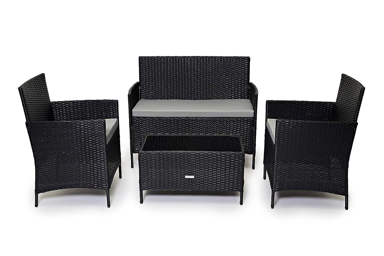 Evre Home & Living Gartenmöbel-Set aus Rattan für Terrasse, Wintergarten, Innen- und Außenbereich, mit Tisch, Stühlen und Sofa, geeignet für 4Personen
