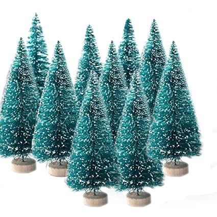 6miles artificial mini sisal christmas trees snow frost with wooden bases for home party decoration ornament - Green Christmas Tree With Blue Decorations