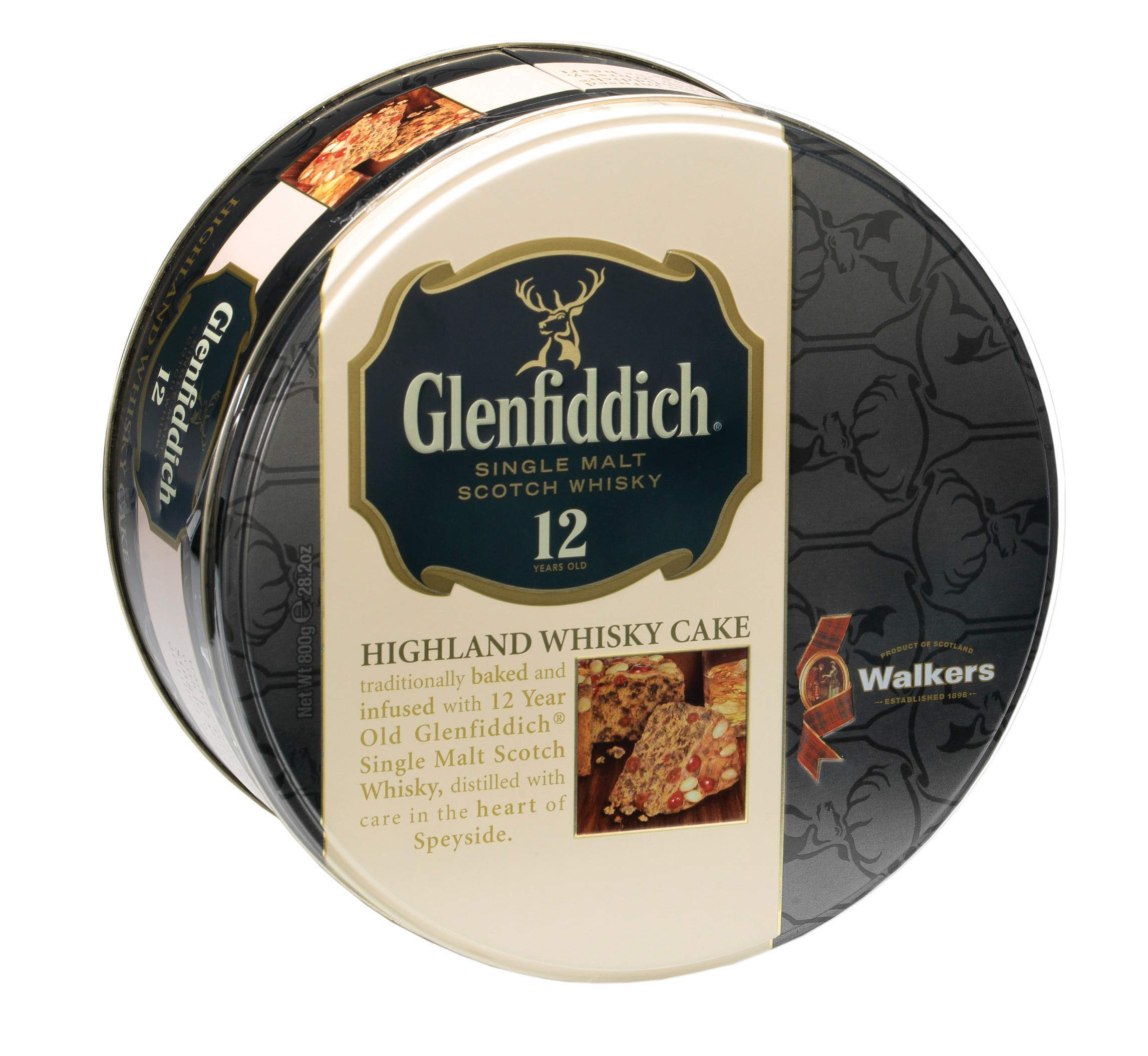 Walkers Shortbread Glenfiddich Highland Whisky Cake, 28.2 Ounce Tin Traditional Scottish Fruit Cake with Glenfiddich Malt Whisky, Cherries, Sultanas by Walkers Shortbread