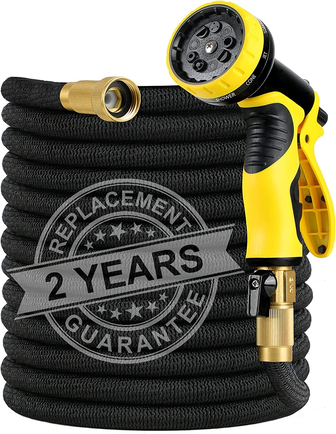 Expandable Garden Hose, 50FT Leakproof Flexible Water Hose with 9 Function Nozzle, Super Durable Fabric & 12-layers Latex Core Solid Brass Fittings Expanding Watering Hoses Gardening Yard Hose Pipe