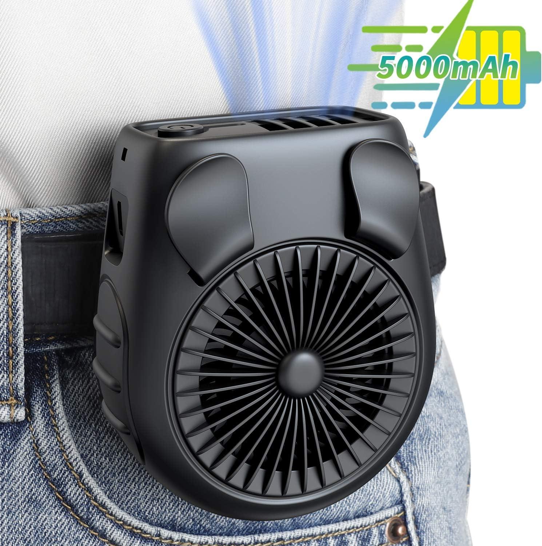 OPOLAR 5000mAh Battery Operaed Personal Waist Clip on Fan Necklace Fan, Portable Belt Fan, 3 Speed, Quiet, Hand-free, Rechargeable USB Fan Cooling Fan for Farm, Fishing, Gardening, Traveling, Home