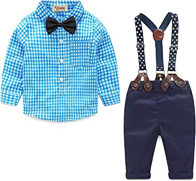 Yilaku Ropa Bebe Niño 4 Piezas Conjuntos de Otoño e Invierno Camisa de Manga Larga + Pantalón + Pajarita + Tirantes Ropa Niño Caballero 6 Meses a 4 años: Amazon.es: Ropa y accesorios