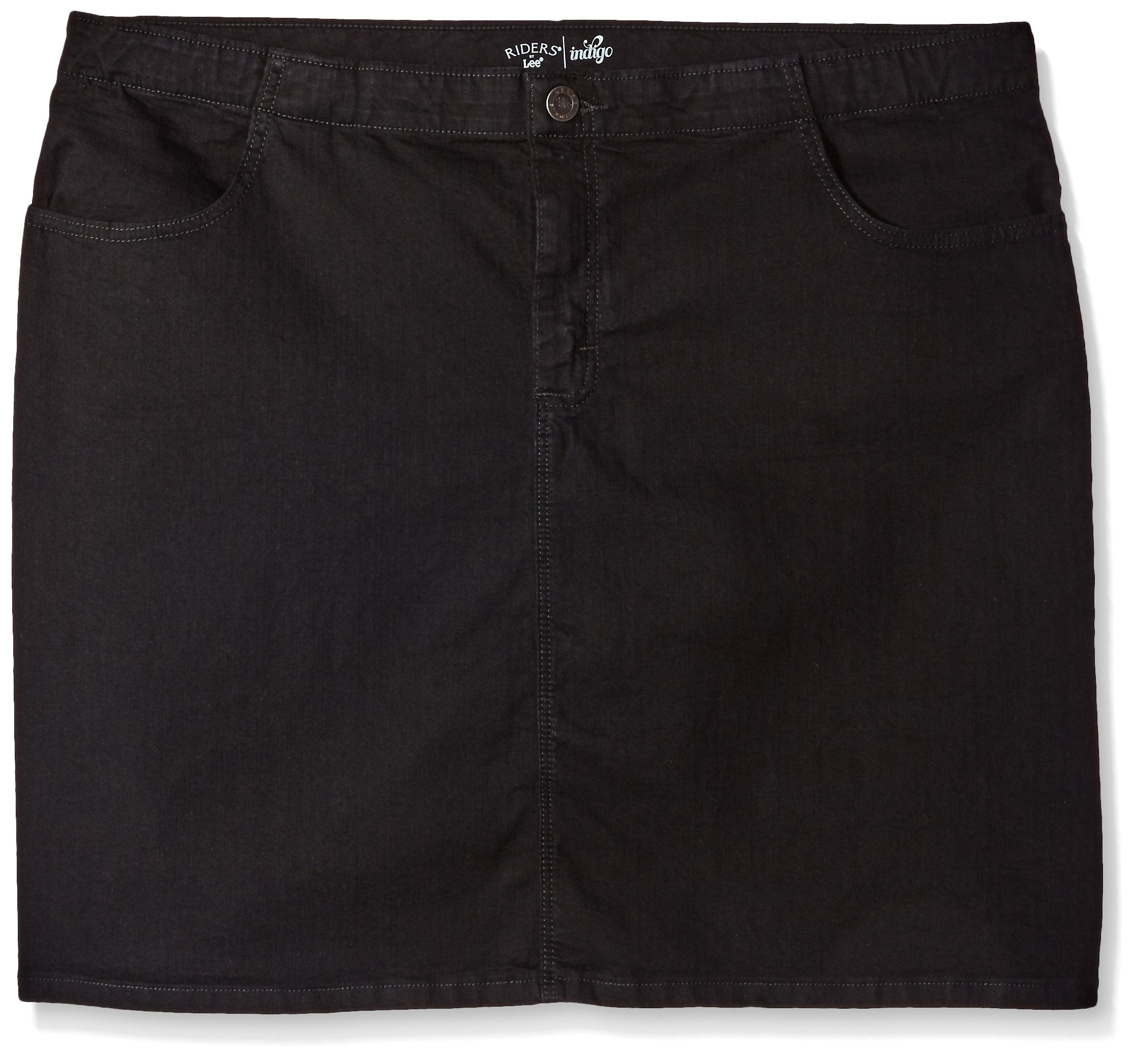Riders by Lee Indigo Women's Plus Size Comfort Collection Denim Skirt, Black, 20W by Riders by Lee Indigo