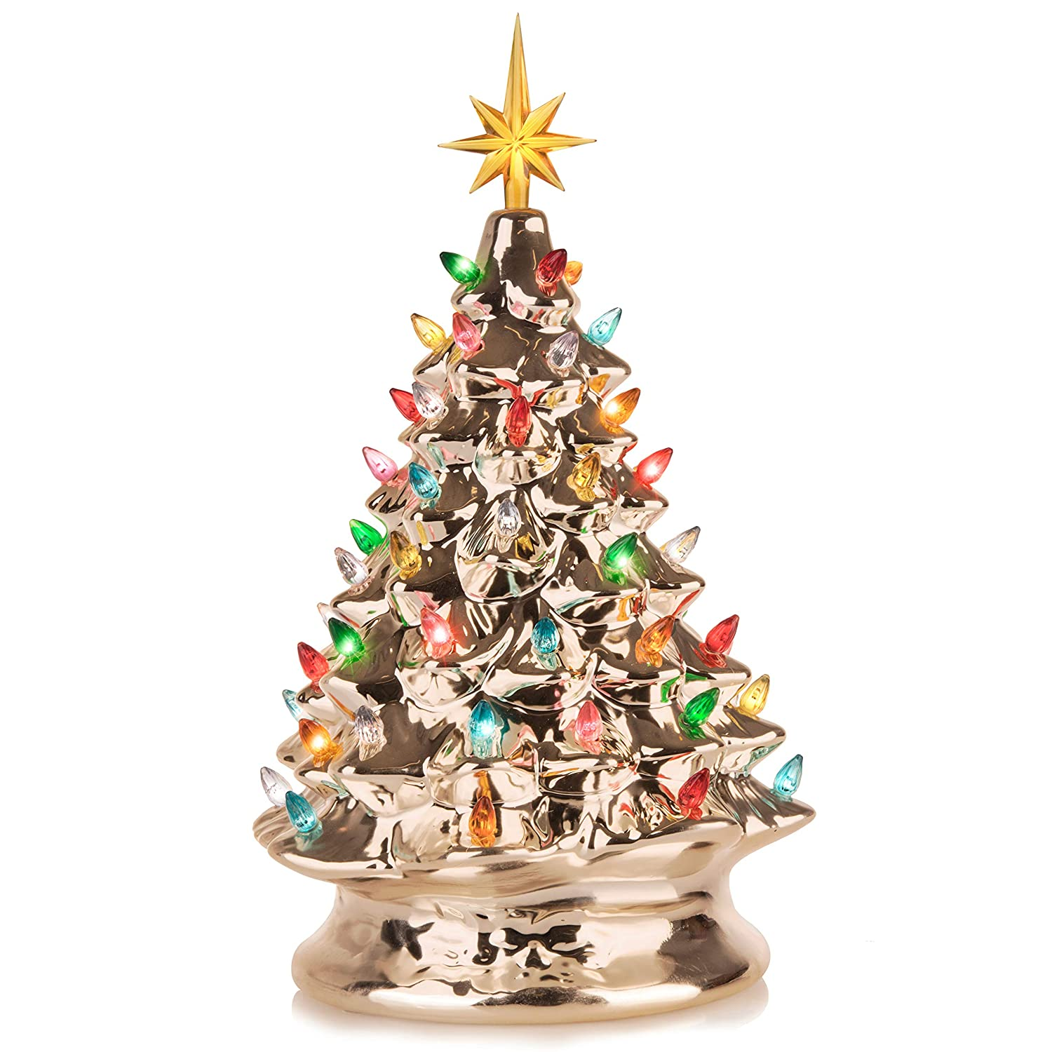 huge discount e1608 626fd RJ Legend Festive Ceramic Christmas Tree – Pre-lit Winter Tree Décor with  Multicolor Lights – Mini Decorated Christmas Tree for Home – Vintage  Holiday ...