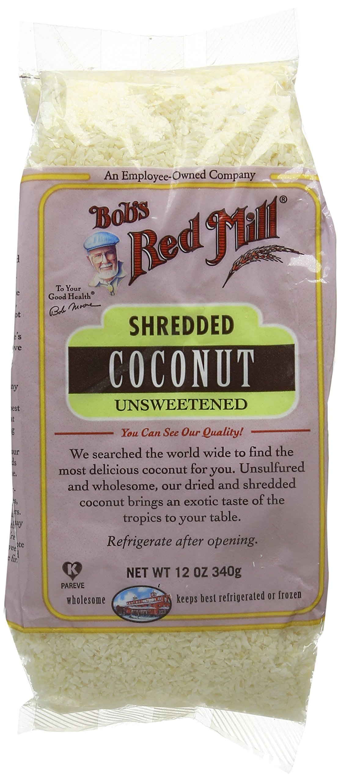 Bob's Red Mill Unsweetened Shredded Coconut, 12-Ounce (Pack of 4)
