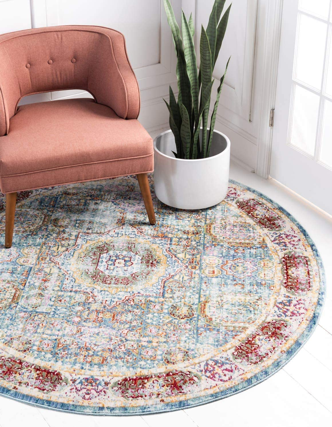 Unique Loom Austin Collection Geometric Medallion Over-Dyed Vintage Blue Round Rug 6 0 x 6 0