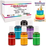 6 Color Cake Food Coloring Liqua-Gel Decorating Baking Primary Colors Set - U.S. Cake Supply .75 fl. Oz. (20ml) Bottles Primary Popular Colors