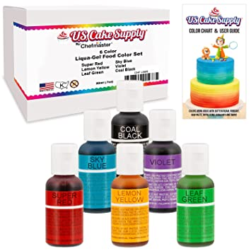Amazon.com : 6 Color Cake Food Coloring Liqua-Gel Decorating ...