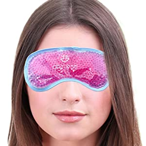 Gel Eye Mask - Hot or Cold Compress Pack Eye Therapy | Cooling Eye Mask for Dark Circles & Puffiness, Puffy Eyes, Dry Eyes, Headaches, Migraines, Sinus - Reusable Eye Face Mask | Ergo Gel Bead (Pink)