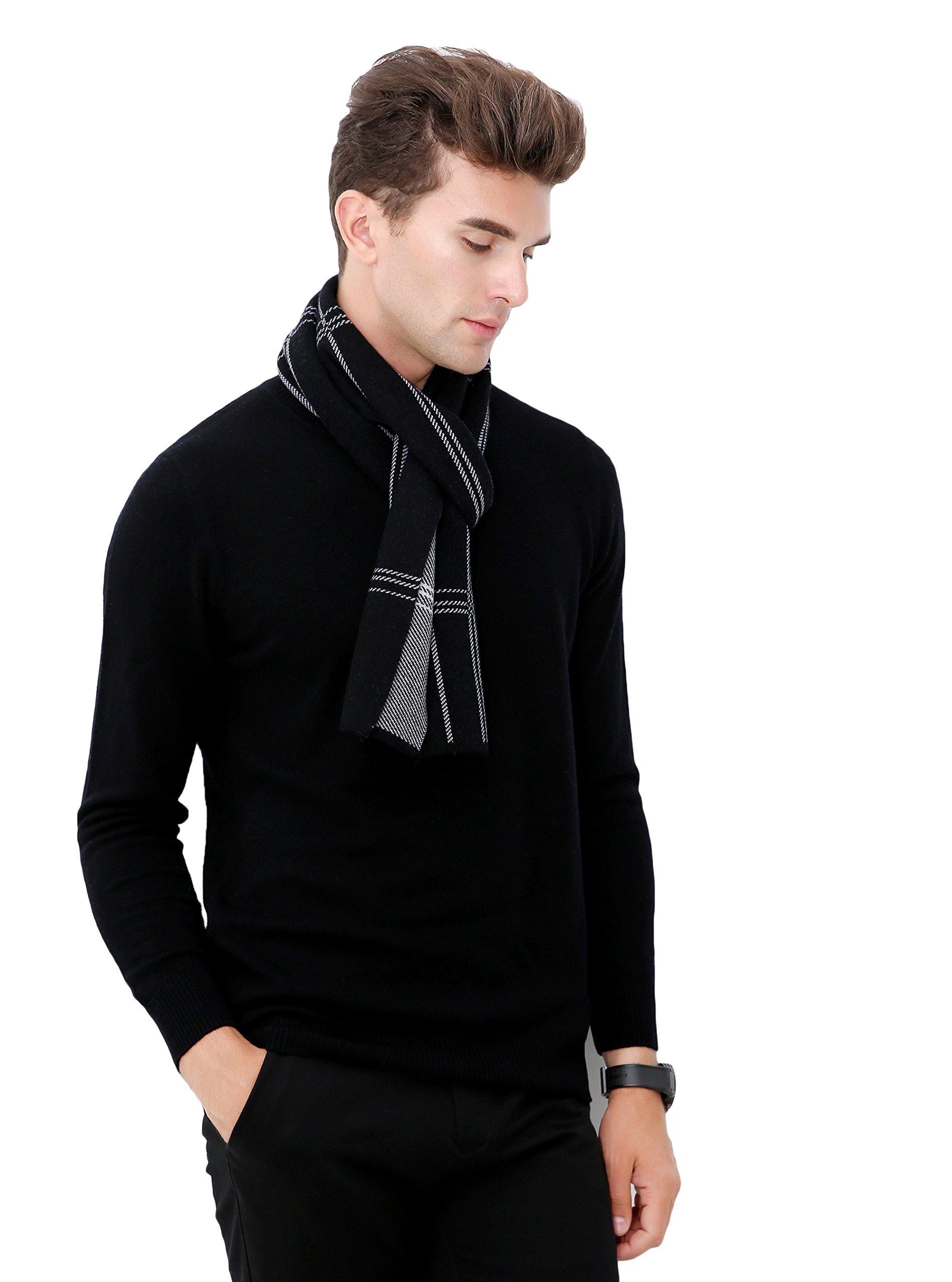 RIONA Men's Australian Merino Wool Plaid Knitted Scarf - Soft Warm Gentleman Neckwear with Gift Box