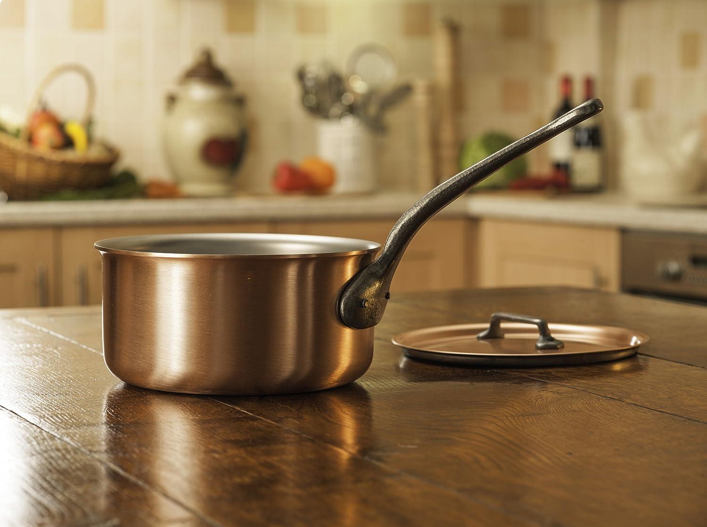 Falk Culinair 20 cm con mango de hierro fundido sartén de cobre y cubierta a juego - 2,7 Litros: Amazon.es: Hogar