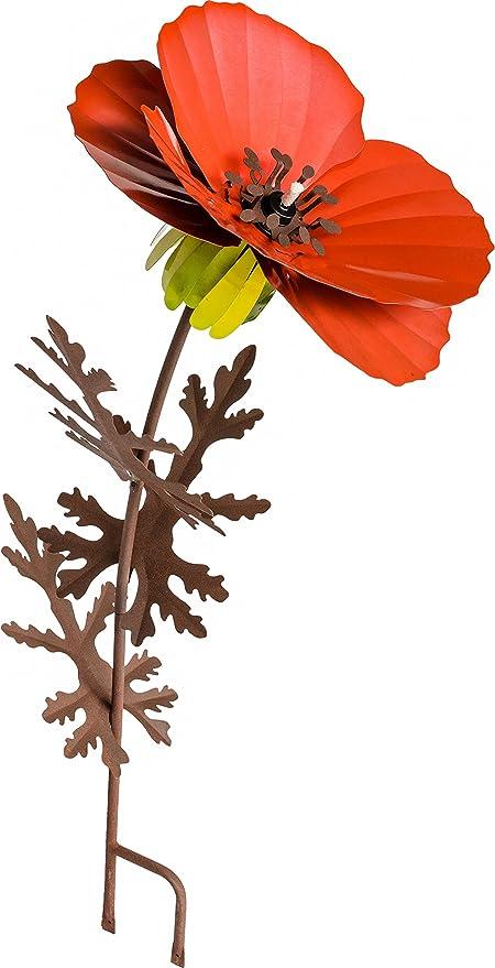 Desert Steel Poppy Garden Torch   36 Inch All Weather Metal Flower Art