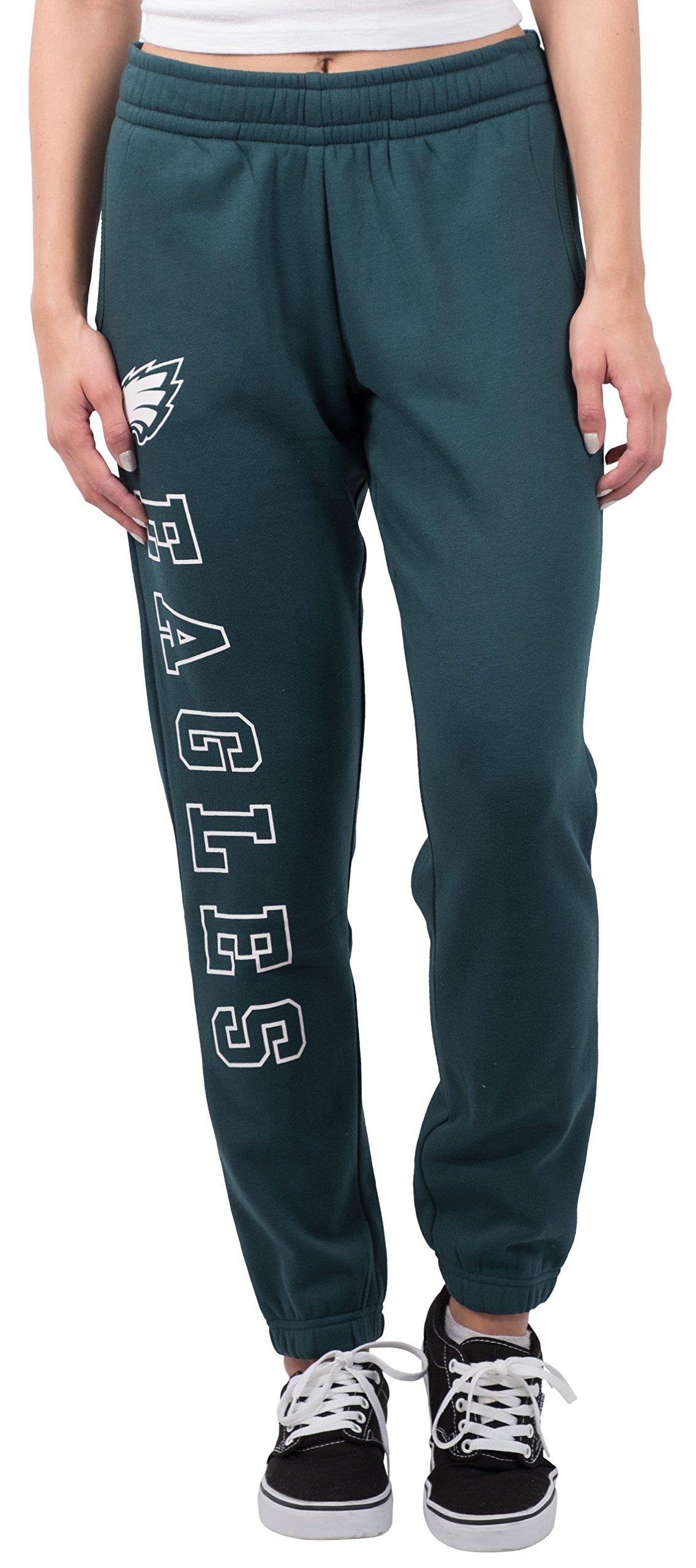 Ultra Game NFL Philadelphia Eagles Women's Relax Fit Fleece Jogger Sweatpants, Large, Green
