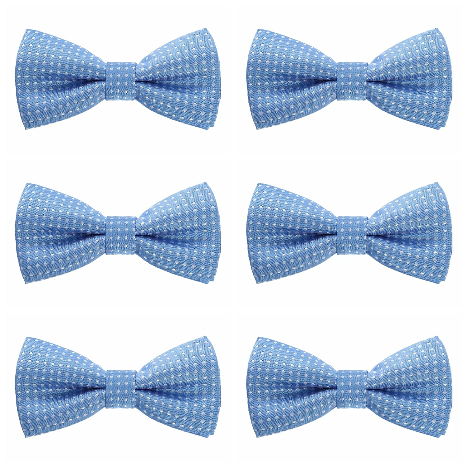 Boys Polka Dots Bow Ties - 6 Pack of Double Layer Adjustable Pre Tied Bowties (Black)
