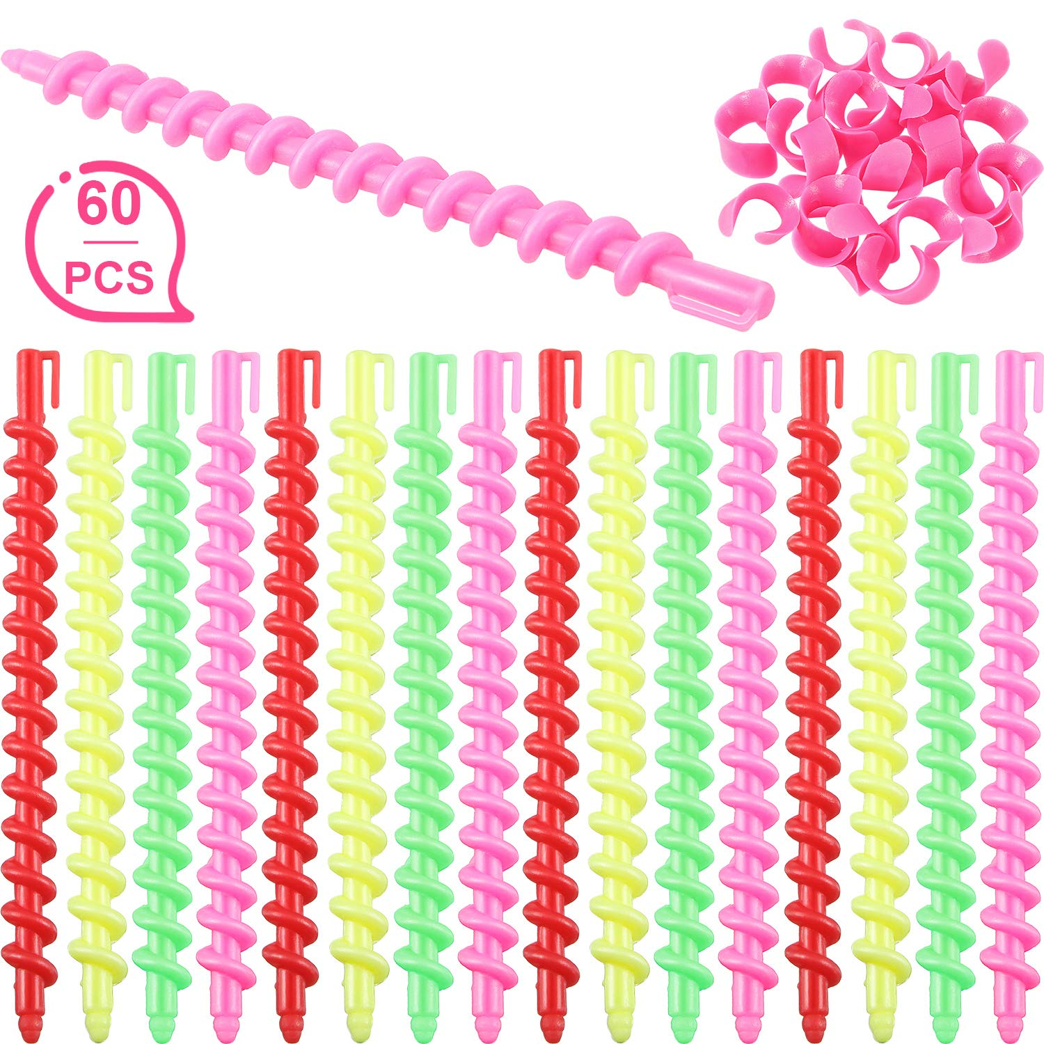 60 Pieces Plastic Spiral Hair Perm Rod Spiral Rod Barber Hairdressing Hair Rollers Salon Tools for Women and Girls by Mudder