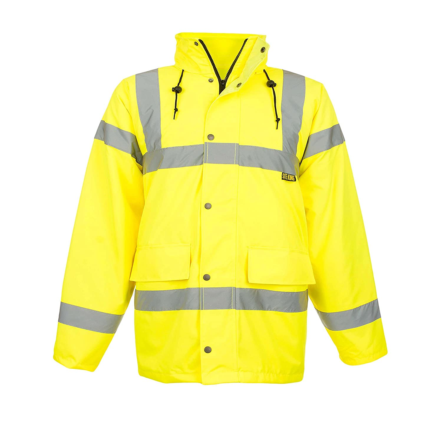 Mens Hi Visibility Road Safety Jacket Size S to 5XL By SITE KING - HI VIS VIZ COAT RAILWAY GORT WORK SITE KING COATS