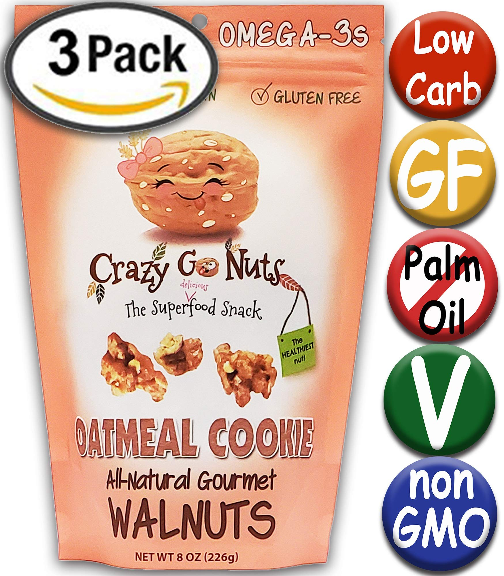 Crazy Go Nuts Flavored Walnuts & Healthy Snacks: Gluten Free, Vegan, Non GMO, 8oz 3 pack - Oatmeal Cookie by Crazy Go Nuts