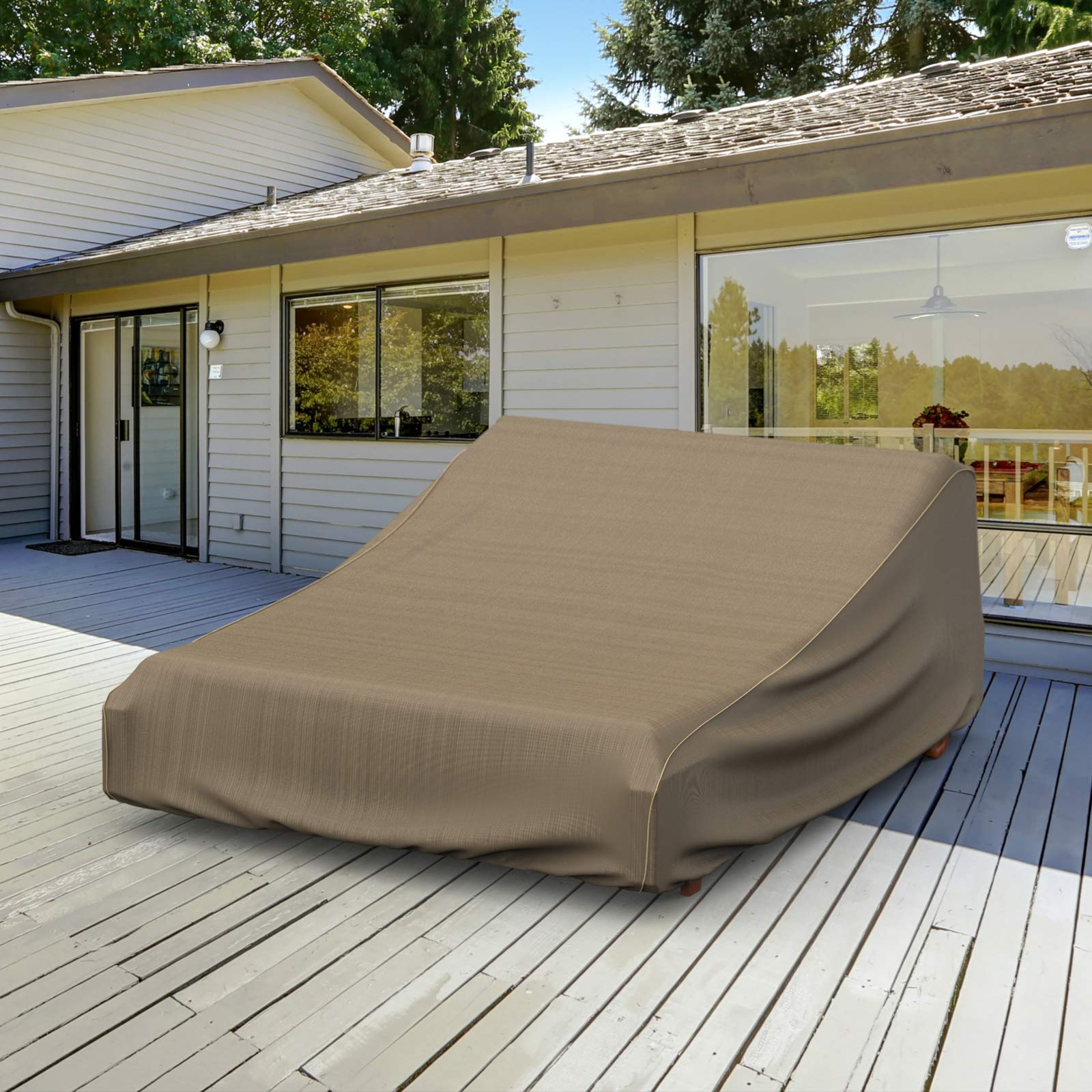 NeverWet Platinum Double Patio Chaise Lounge Cover, (Black and Tan Weave) by EmpireCovers (Image #9)