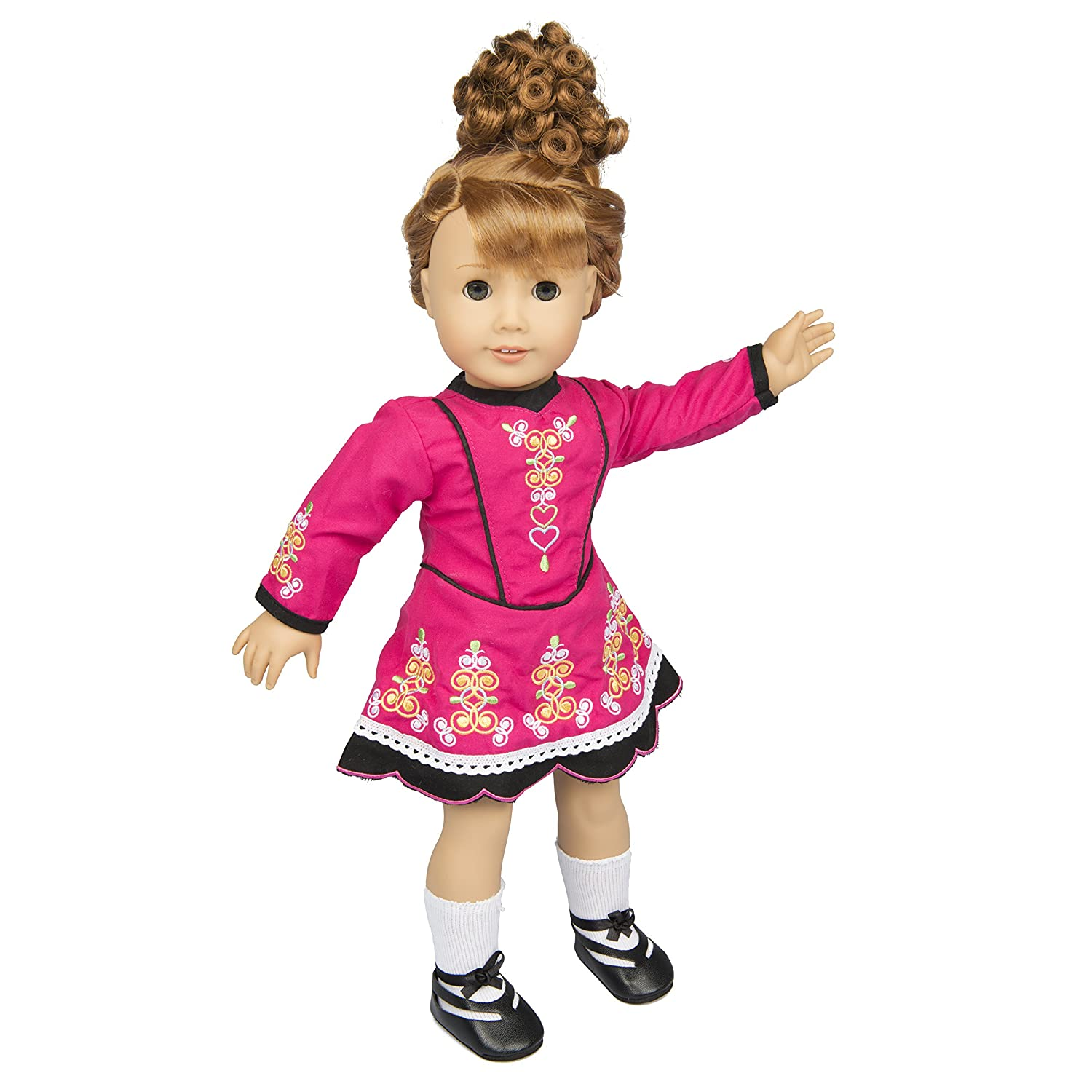 Irish Step Dancing Doll Clothes for 18' Dolls (Includes Dress, Brunette Hair, Gillies, and Leggings)