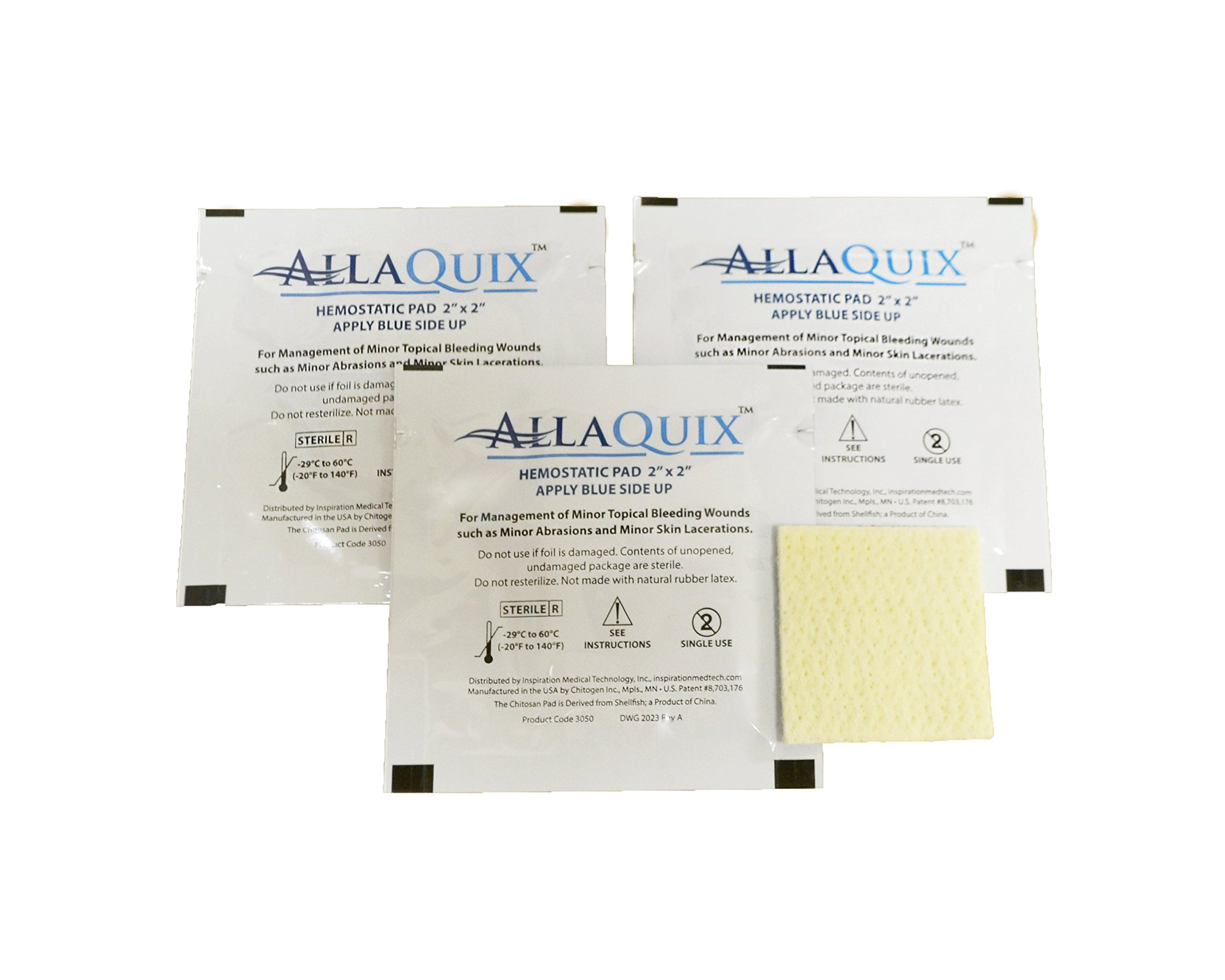 (Pack of 3) AllaQuix Stop Bleeding Pad (LARGE 2-inch square) Professional-Grade First-Aid Hemostatic Gauze (Blood Clotting Bandage)