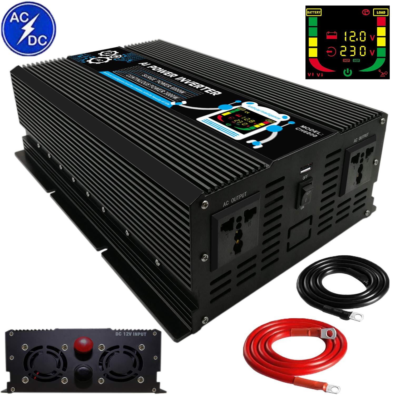 3000W//6000w Spannungswandler 12V-230V Inverter Wechselrichter mit Fernbedienung