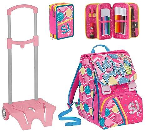 5563a3351e Zaino scuola sdoppiabile SJ GANG + Easy Trolley + ASTUCCIO - GIRL - Rosa -  FLIP