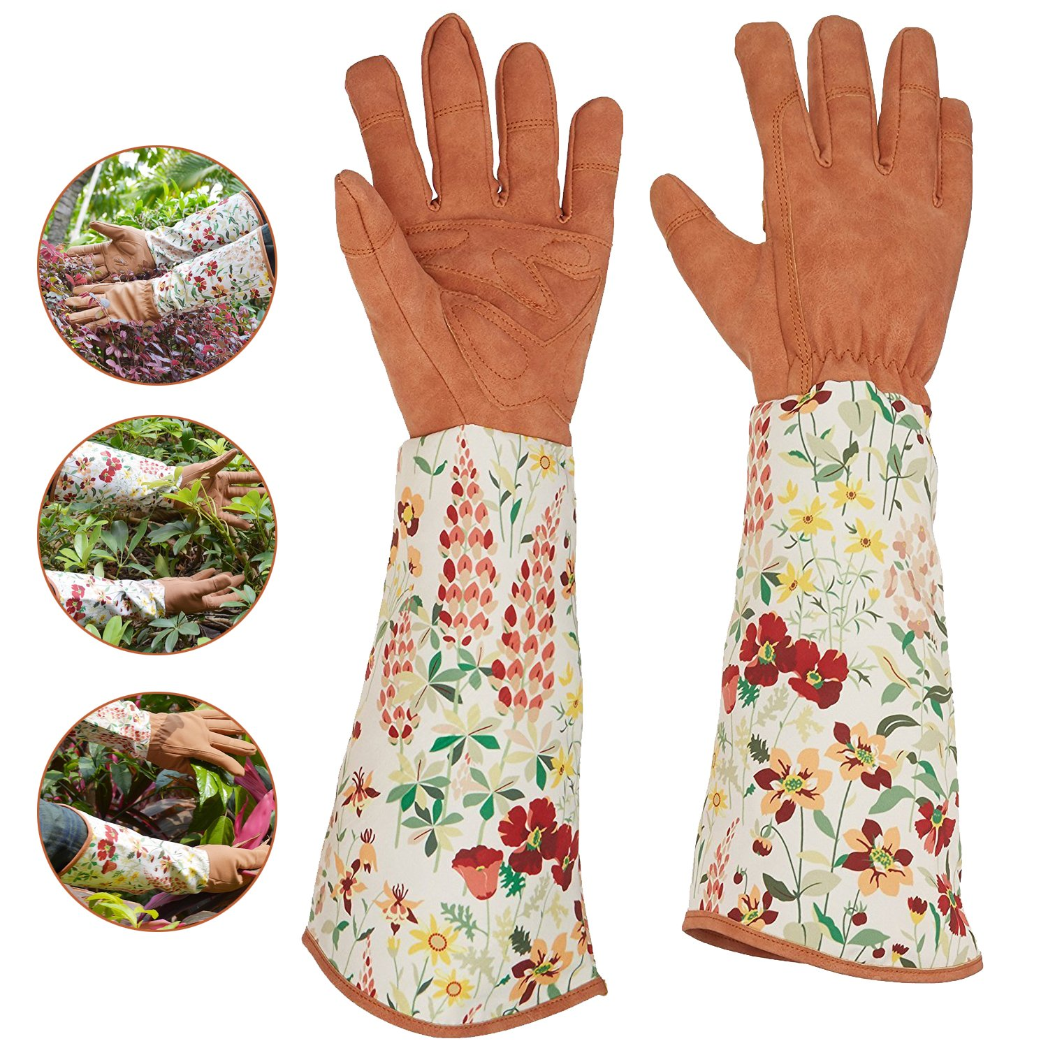 Ruibo Leather Rose Gardening Gloves/Thorn Proof Pruning Gloves With Puncture Resistant Long Sleeve Polyester Print Cuff/For Blackberry Plants Rose Bush Women