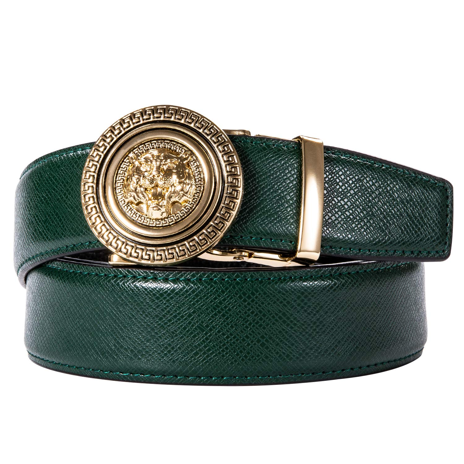 Barry.Wang Mens Formal Belt,Full Grain Leather with Automatic Buckle Nickel Free Luxury Gift