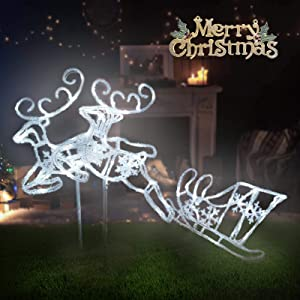 Pre-Lit LED Light Up Double Reindeer and Sleigh Set, Acrylic Christmas Holiday Figures Decoration for Lawn Garden Indoor Outdoor Use (White)