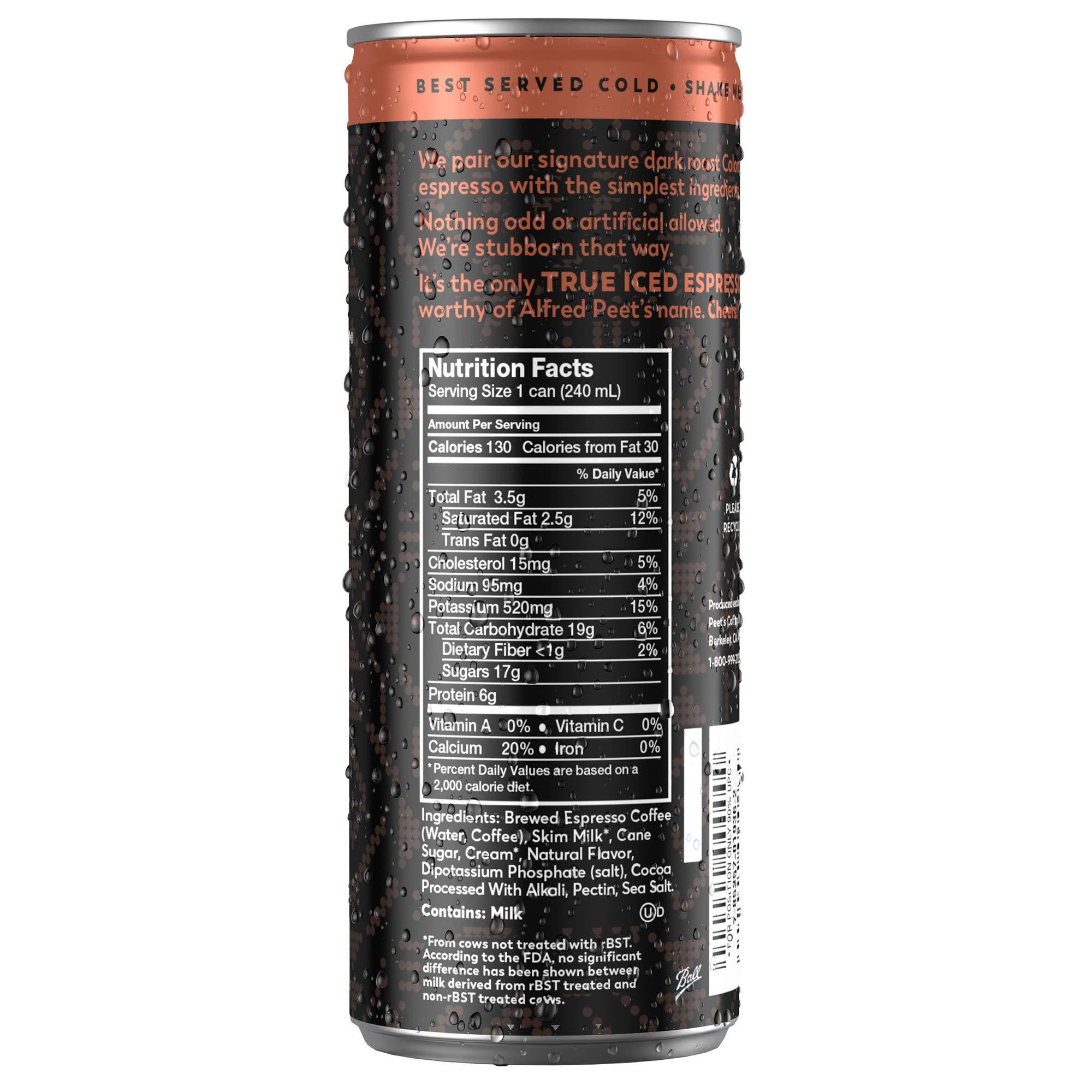 Peet's Iced Espresso Mocha Chocolate 8 oz Can (12 Count) Single-Origin Colombian Espresso with Dutch Process Cocoa & Milk 110 Calorie 17 grams of sugar by Peet's Coffee (Image #2)