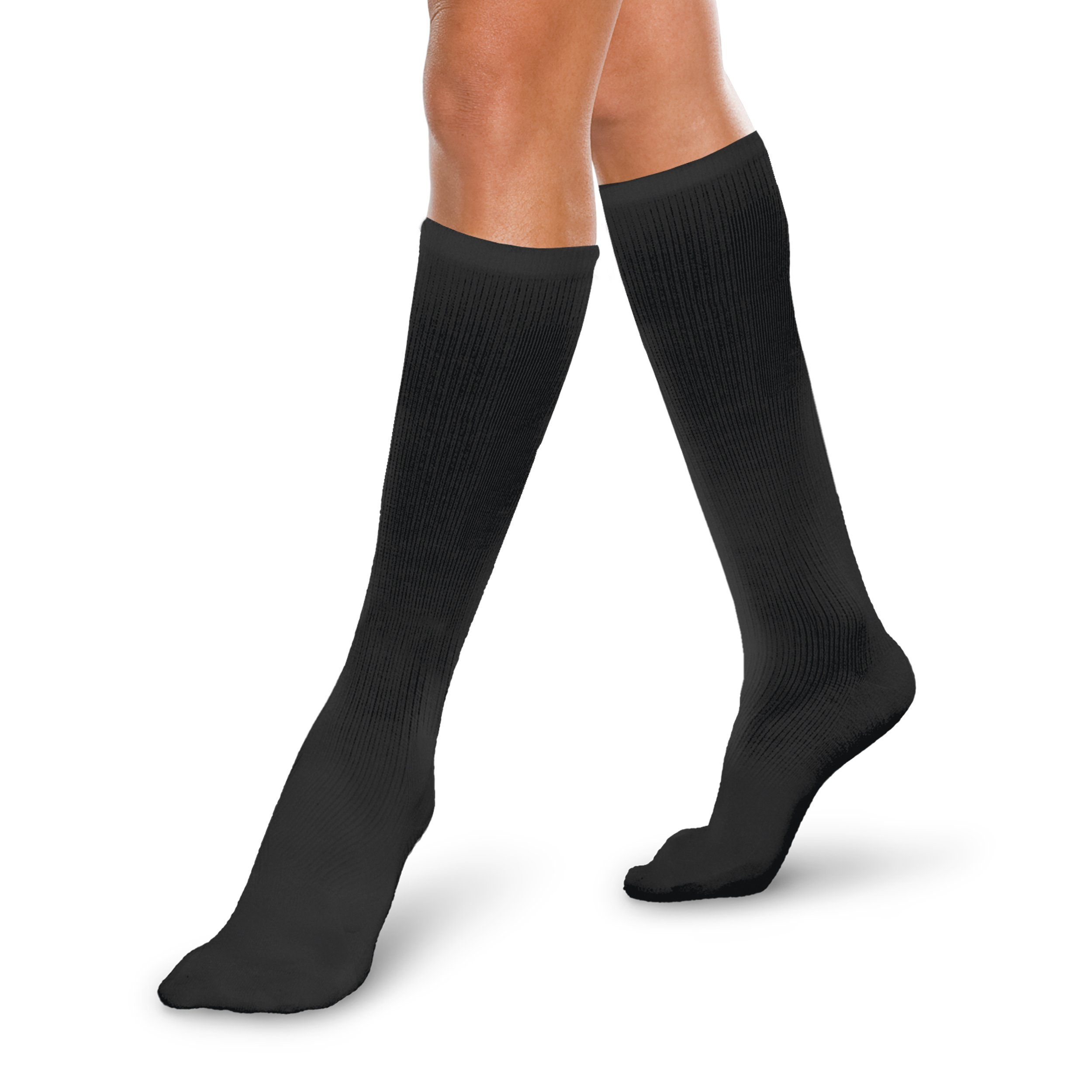 Core-Spun 20-30mmHg Moderate Graduated Compression Support Knee High Socks (Black, Large)