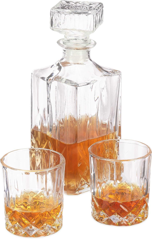 Relaxdays Kit, Decantador de Cristal, Vasos para Whisky (250 ml), Conjunto para Bar, Transparente, 29.00 x 17.00 x 24.00 cm