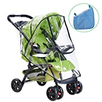 HULISEN Universal Baby Stroller Rain Cover, Waterproof Umbrella Stroller Wind Dust Shield Cover and Organizer for Strollers with Free Gift-Buggy Storage Bag
