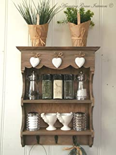 Anself White Wooden Kitchen Wall Cabinet Glass Door Amazon Co Uk