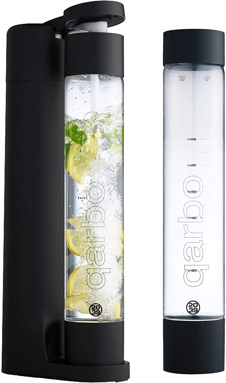 twenty39 qarbo Sparkling Water Maker and Fruit Infuser - Premium Carbonation Machine with Two 1L BPA Free Bottles - Infuses Flavor while Carbonating Beverages, Use Standard Gas Cylinder (not included), Matte Black