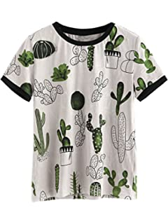 9a86cd6e554 Verdusa Women's Summer Short Sleeve Cute Cactus Print Tunic T-Shirt Tops