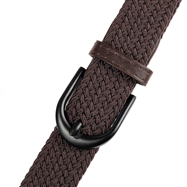 Braided Stretch Elastic Web Belt Prong Black//Nickel Buckle Loop Tip Men//Women//Junior